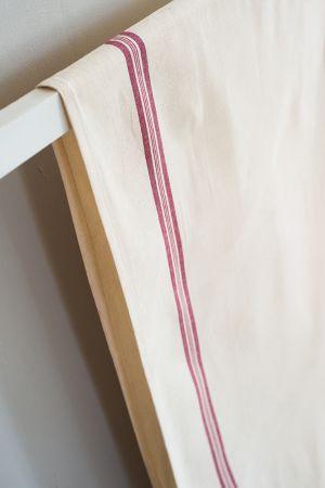 Rouleau métis lin/coton  - Liteaux rouge